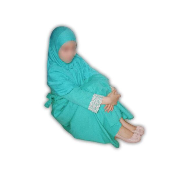 abaya fille turquoise