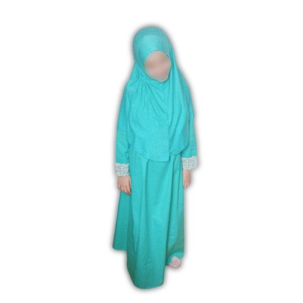 abat et hijab fillette turquoise