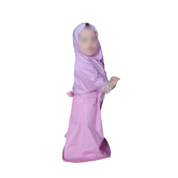 abaya et hijab mauve pour fille